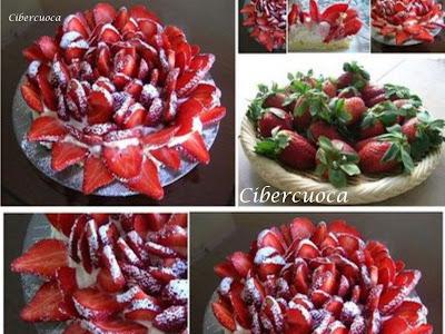 Bizcochuelo con frutillas y crema