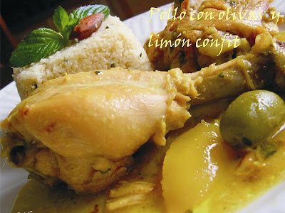 Pollo con aceitunas y limón confit