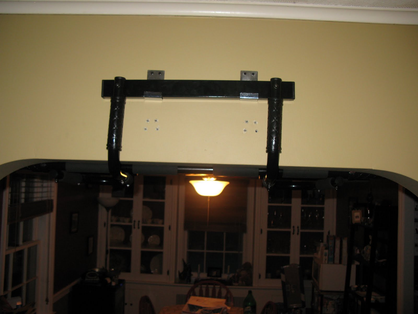 Here is the pull up bar...finally hanging!! Yes those are a second set of holes that you see. Turns out they were too low. This type of doorway was our ... & Jen \u0026 Ash\u0027s P90X Journey: The Pull-Up Bar Drama