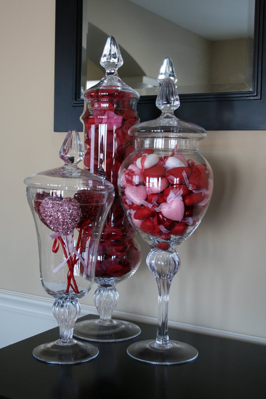 Creative designs by jen valentine 39 s day apothecary jars for Home decorations for valentine s day