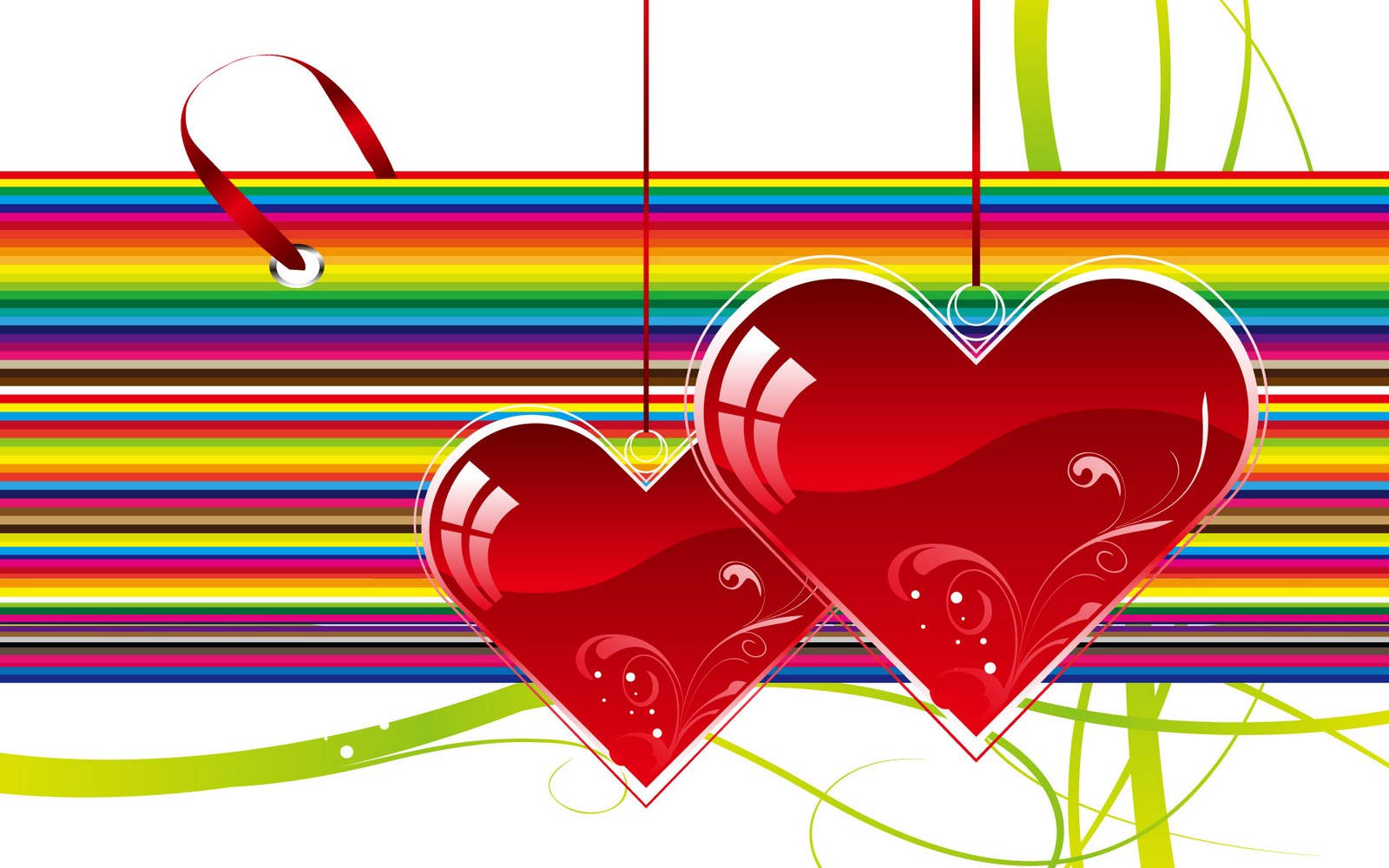 Two Hearts on Rainbow Wallpaper