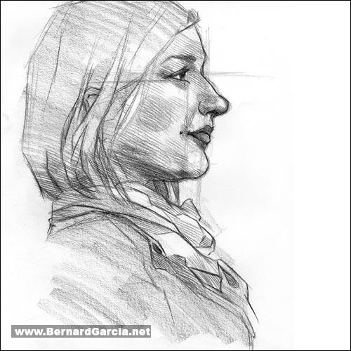 drawing and sketching by artist bernard garcia profile sketch of