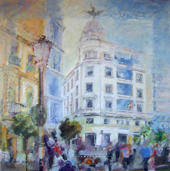 La placeta de Huelva, óleo lienzo 75x75 cm