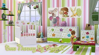 My sims 3 blog nursery bees by desdren for Sims 3 chambre bebe