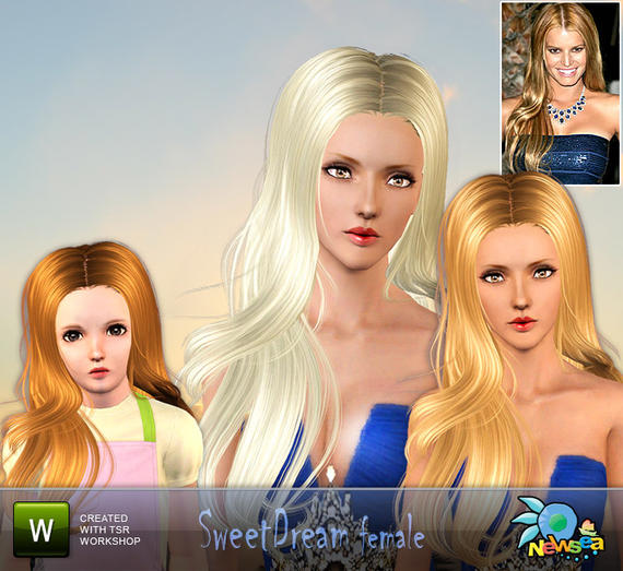 Newsea Sweet dream Female Hairstyle. Download at The Sims Resource