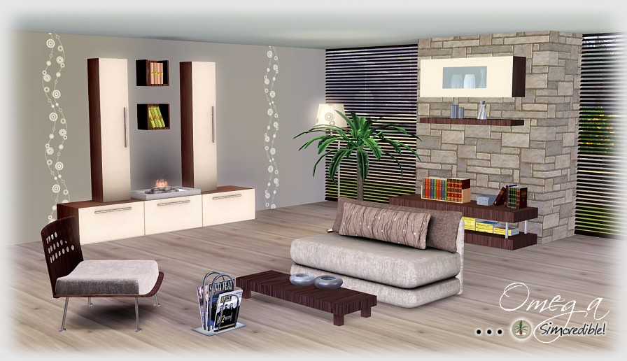 My sims 3 blog omega living room set by simcredible designs for Living room ideas sims 3