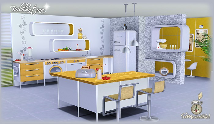 My sims 3 blog brilhantina kitchen set by simcredible designs for Sims 3 kitchen designs
