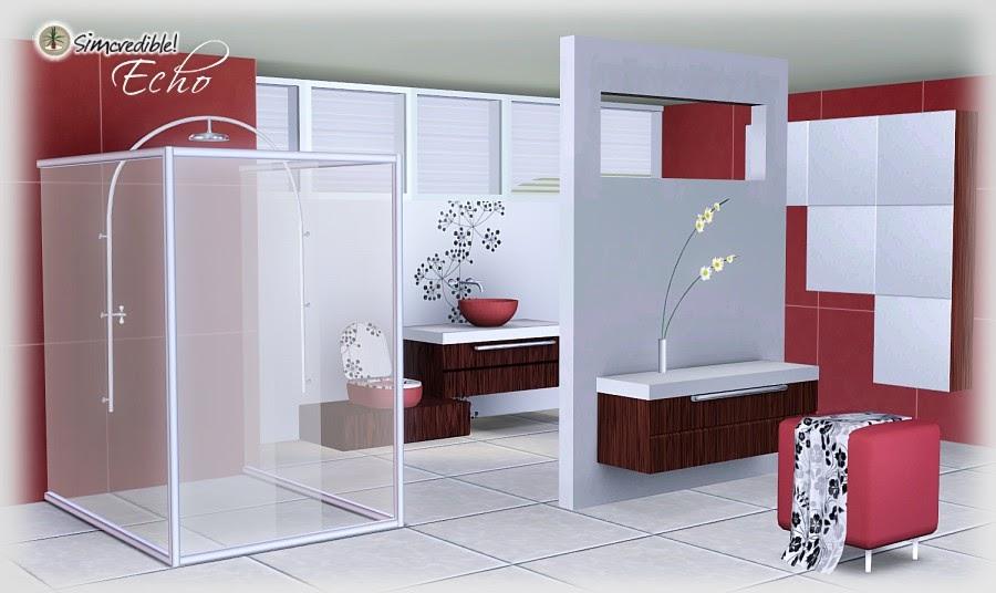 My sims 3 blog echo bathroom set by simcredible designs for Bathroom ideas sims 4