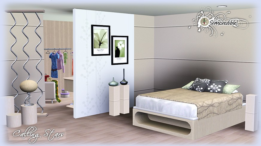My sims 3 blog calling stars bedroom set by simcredible for Bedroom designs sims 4
