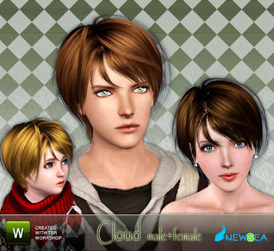 Newsea Cloud Male+Female Hairstyle Sep 27, 2010. Download at The Sims
