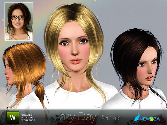 Newsea Lazy Day Female Hairstyle. Download at The Sims Resource - Subscriber