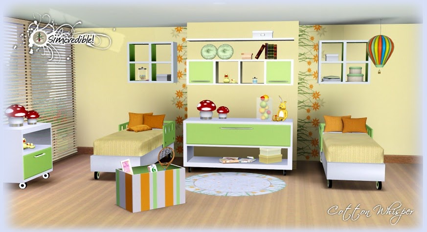 My sims 3 blog cotton whisper bedroom set by simcredible for Bedroom designs sims 4