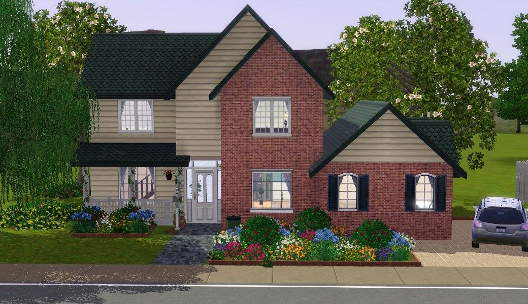 My sims 3 blog the suburban house part i by nikkicornelisse for Normal house front design