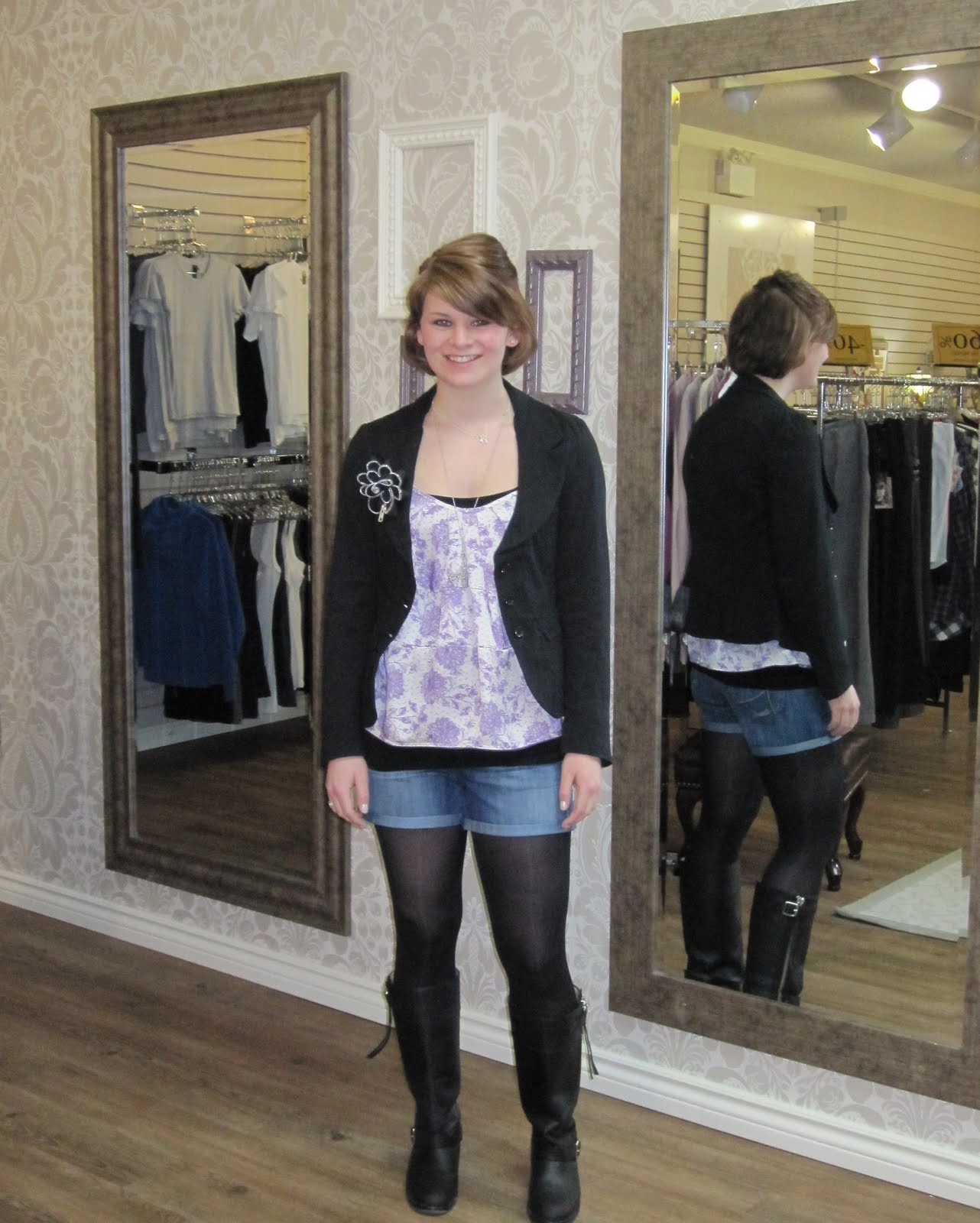 Leggings And Boots http://prestboutique.blogspot.com/2010/04/shorts.html