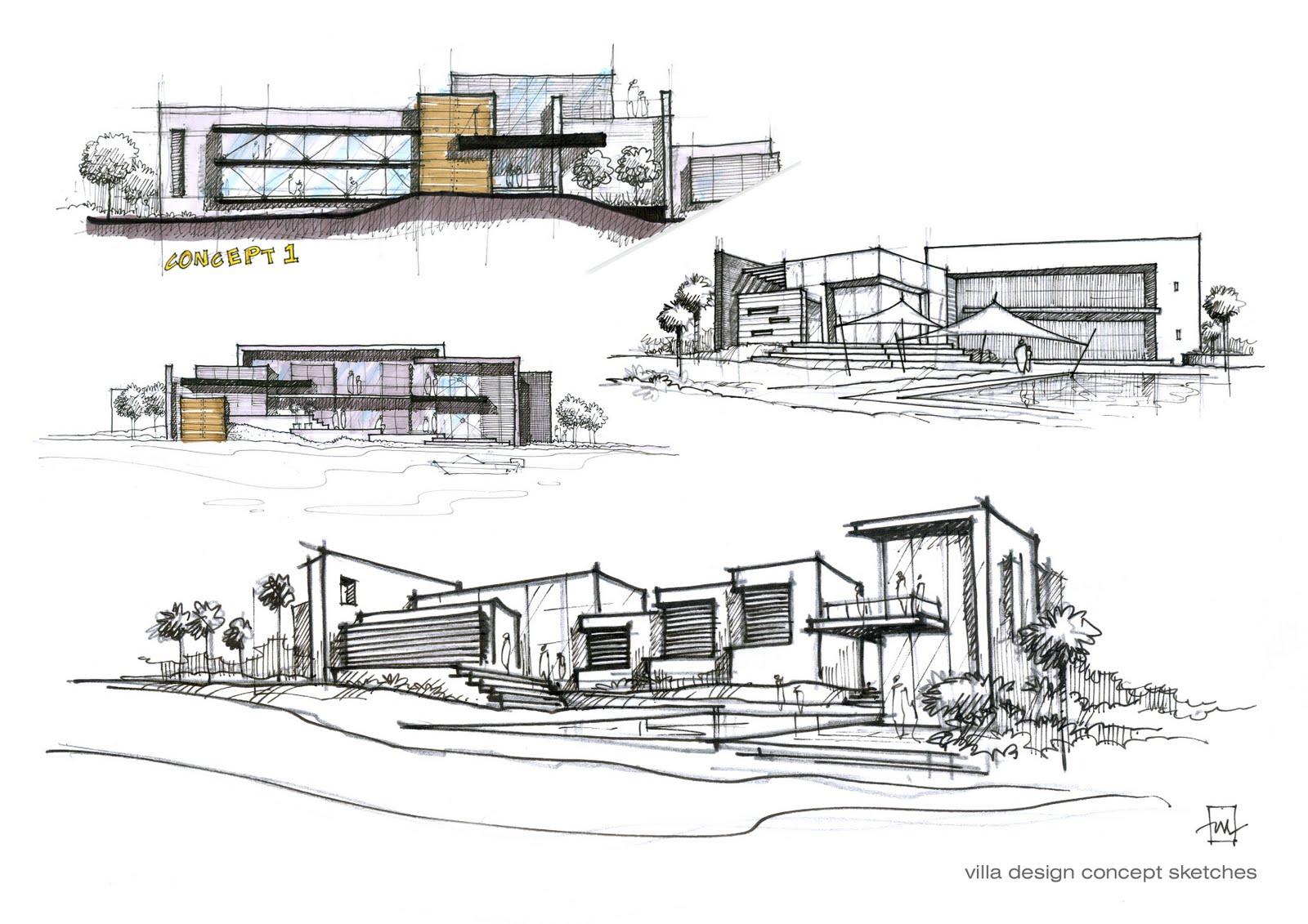 Villa design concept sketches atelier2 for Concept 8 architects