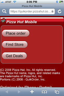 Pizza Hut iPhone app–Ordering Pizza is Fun