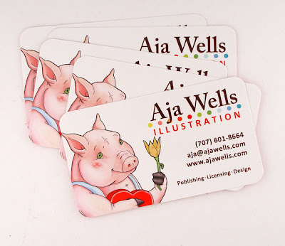 Aja Wells the three little pigs illustration on business cards, printed by GotPrint