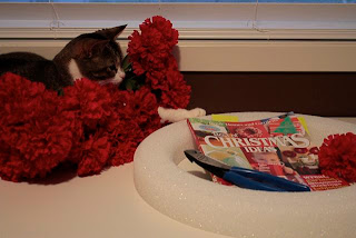 Faux Carnation Wreath and Kitty