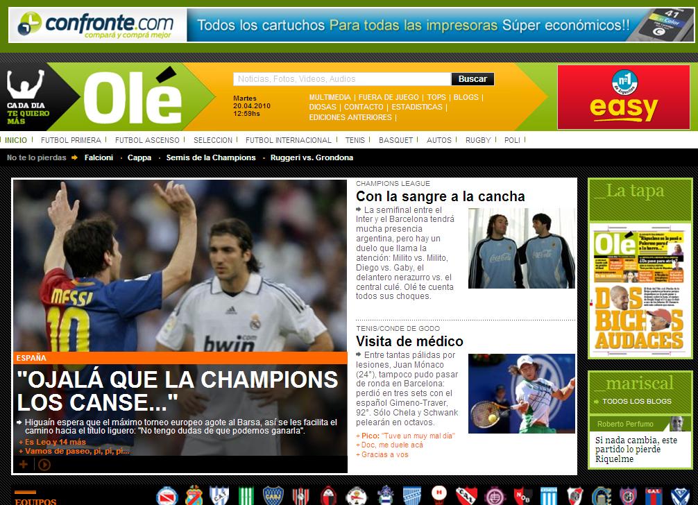 Nueva pagina web del deportivo Olé