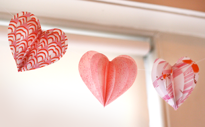 fabric valentine hearts garland