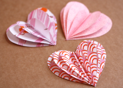 Folded fabric hearts, crafts, kids crafts, Valentine crafts