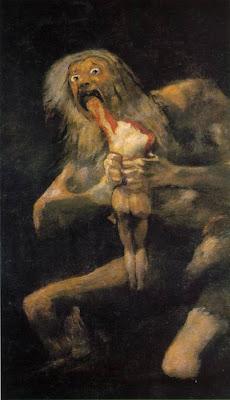 Saturno devorando a sus hijos, de Goya. Imagen usada en el comentario sobre el lbro de Valeriano Bozal Las pintura negras Goya. Academia de dibujo y pintura Artistas6 de Madrid.