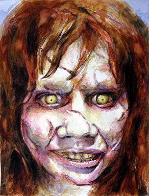 La niña del exorcista, acuarela de la serie de terror de Juan Sánchez Sotelo. Academia de dibujo y pintura Artistas6 de Madrid. Clases y cursos para aprender a pintar.