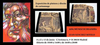 Exposición de pinbtura y diseño de cartonnage en la Academia de dibujo y pintura Artistas6 de Madrid.