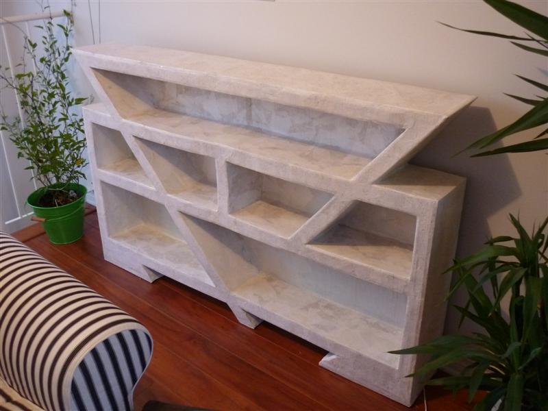 biblioth que en carton termin e. Black Bedroom Furniture Sets. Home Design Ideas
