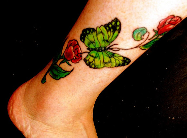 butterfly eggplant flower tattoo,tattoo gun tattoo,ankle tattoo:I want to