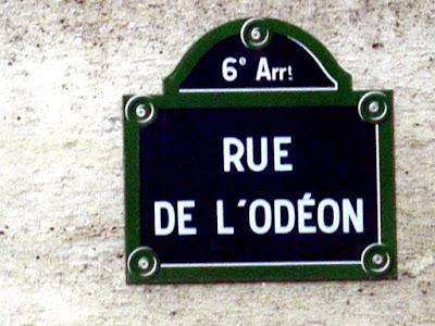 Straßenschild Rue de l'Odéon