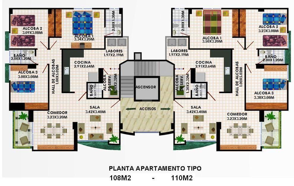 Edificio milano planos for Edificio de departamentos planos