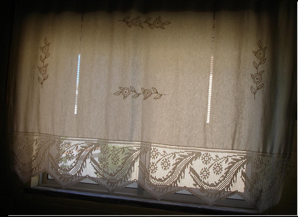 cortinado de cozinha de linho e renda bordado m o   flores