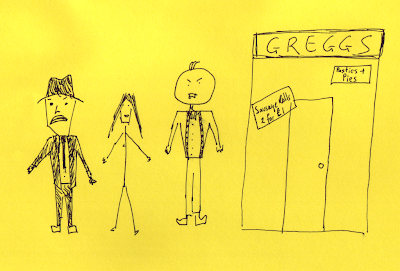 Post it Note Art #8 - Pete Doherty, Kate Moss and Roy Mallinson open a new branch of Greggs
