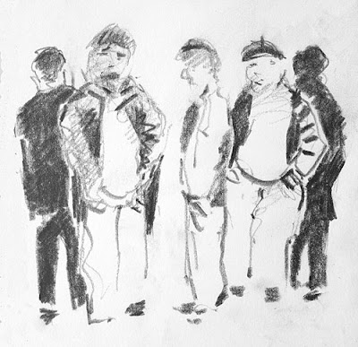 cartoon of old french man with their hands in pockets