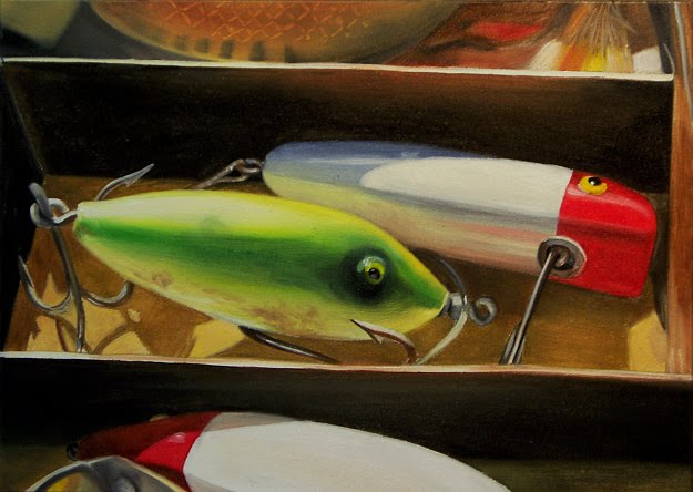 A painting a day by joy argento fishing lures oil painting for Fishing lure paint