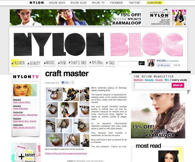 NYLON MAGAZINE Digital Edition.  Domingo Ayala Handmade