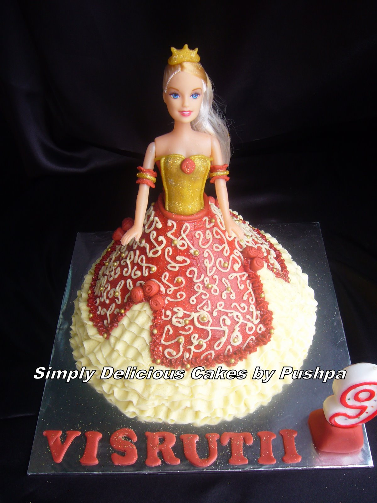Cake Images Ramesh : SIMPLY DELICIOUS CAKES: Maroon & Gold Barbie