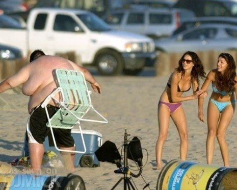 Craziest Fat Guy Having Trouble At The Beach