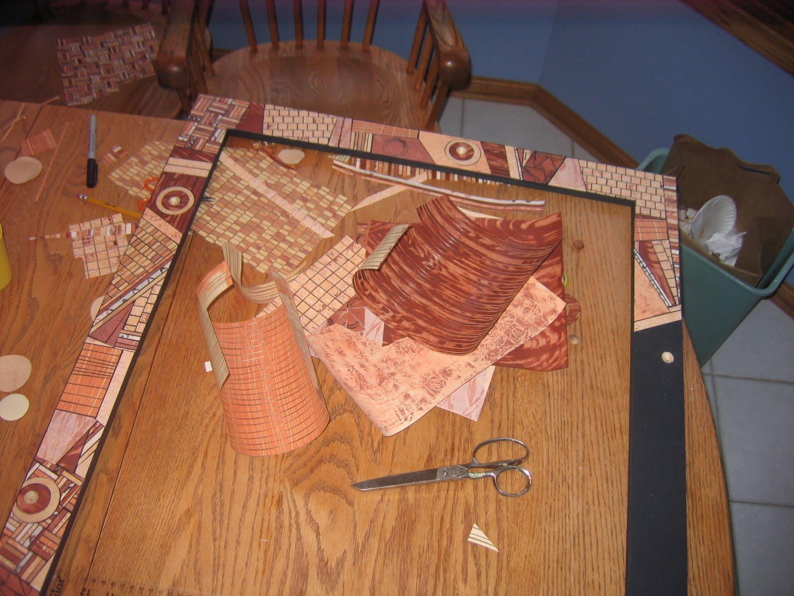 Mod Podge Kitchen Table Lorrie Grainger Abdo Paper Mosaic Mirror Frame Haworth Family