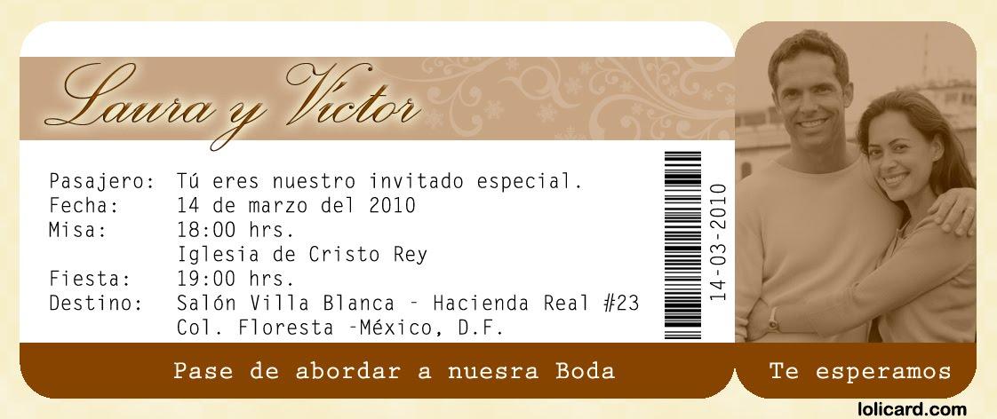 Invitación de boda tipo boleto de avión Modelo 029