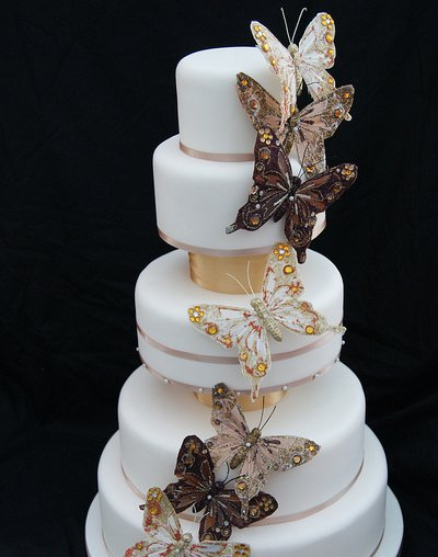 Blue butterfly wedding cake with Simple 3 tier White fondant Wedding Cake