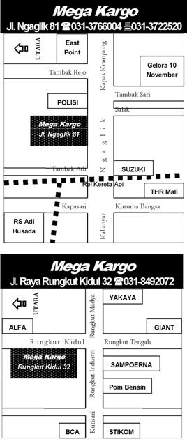 Peta Alamat MEGA KARGO Surabaya