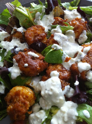 ... Booty Cakes: Buffalo Shrimp Salad with low fat Blue Cheese Dressing