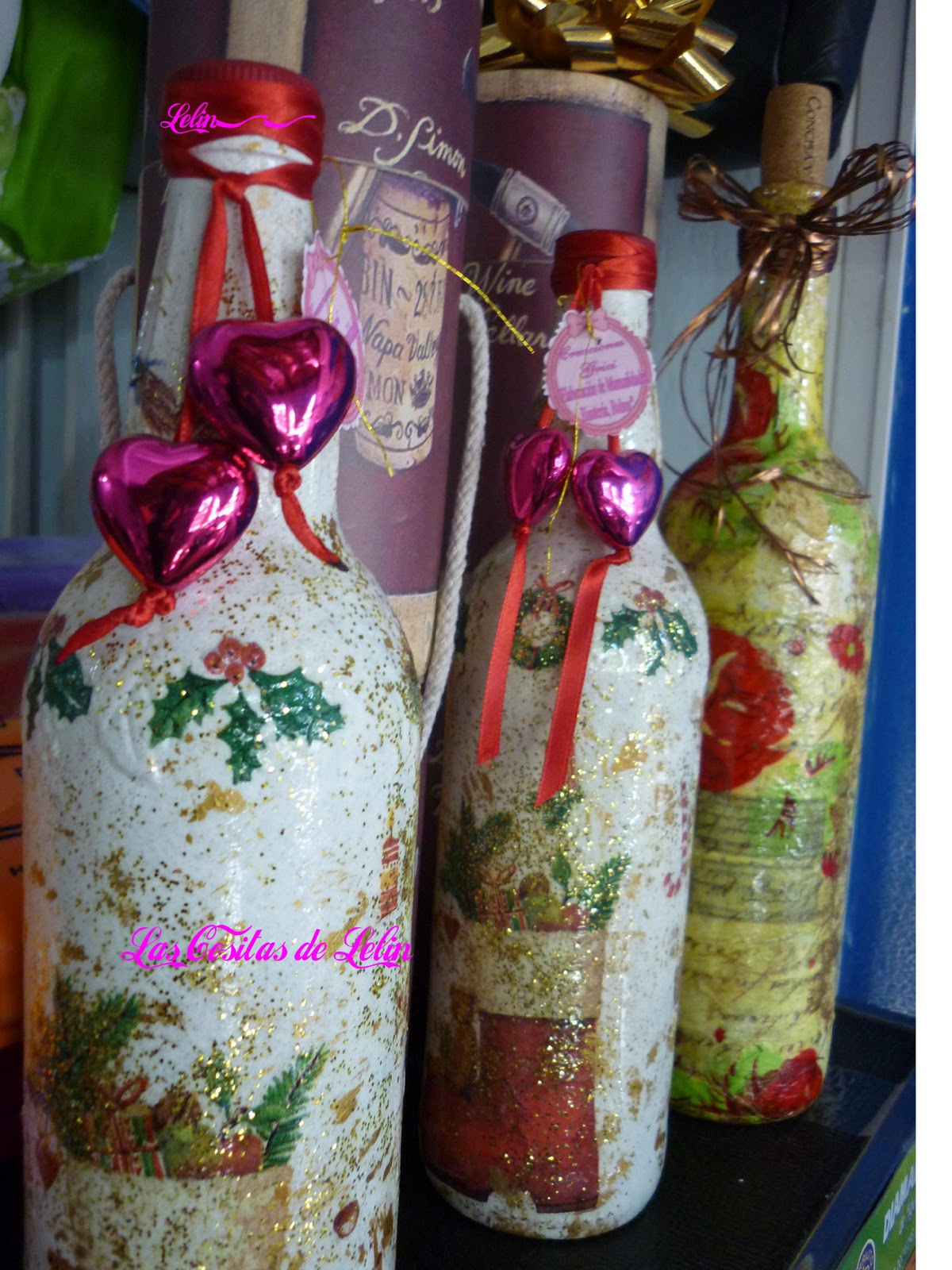 Las cositas de lelin botellas navide as - Botellas decoradas navidenas ...