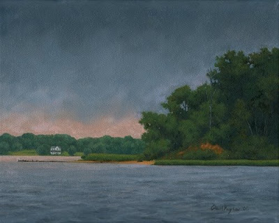 View from Quiet Waters Park - Original Landscape Painting by Paul Keysar