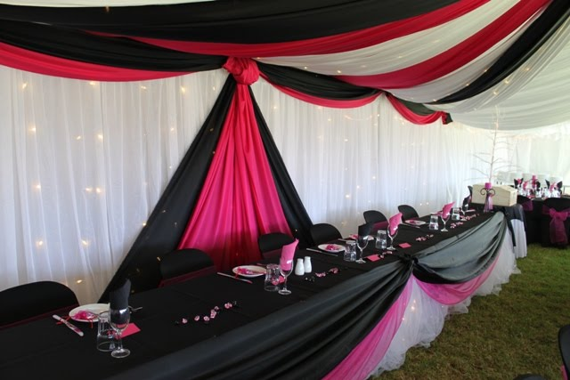 Pink Black And White Wedding Decoration Ideas : Pink and black table decorations photograph plastic