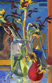 Self portrait oil painting -head and shoulders partally obscured by dying flower arrangement
