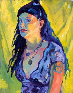 Portrait oil painting head, shoulders and upper torso of Scarlette, a blue haired punk girl