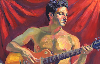 Oil painting portrait of shirtless male guitar player